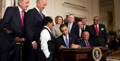 President Obama signing the Patient Protection and Affordable Care Act on March 23, 2010
