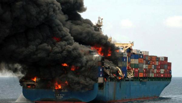 Burning Cargo Ship from Yemen