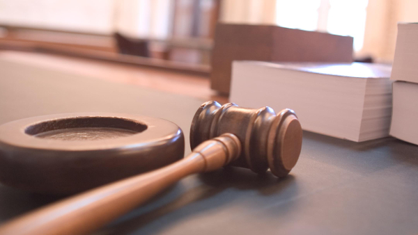 judge desk and gavel