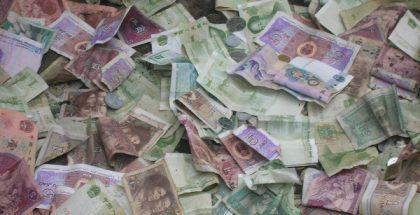 Pile of Chinese Yuan