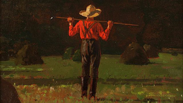 Farmer With a Pitchfork (Painted by Winslow Homer) (1874)