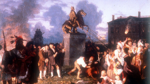 Pulling Down the Statue of King George III (Painted by Johannes Adam Simon Oertel) (circa 1859)