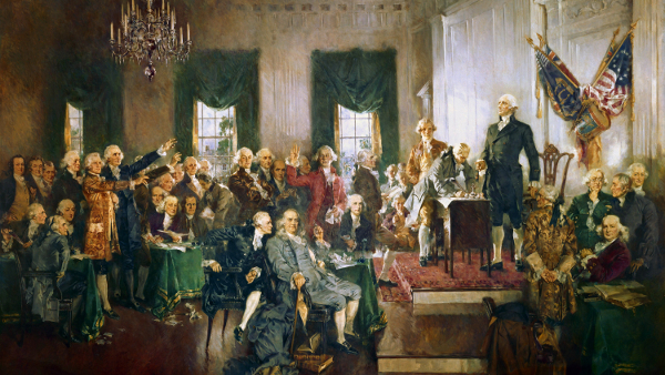 Scene at the Signing of the Consitutation of the United States (Painted by Howard Chandler Christy) (1940)