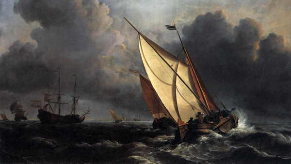Ships on a Stormy Sea (Painted by Willem van de Velde the Younger) (circa 1672)