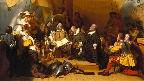 The Embarkation of the Pilgrims (Painted by Robert Walter Weir) (1857)