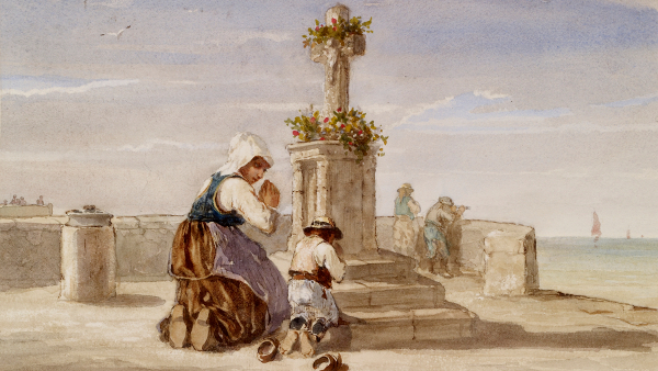 Woman and Child Kneeling Before a Cross (Painted by Jules Jacques Veyrassat) (circa 1865)