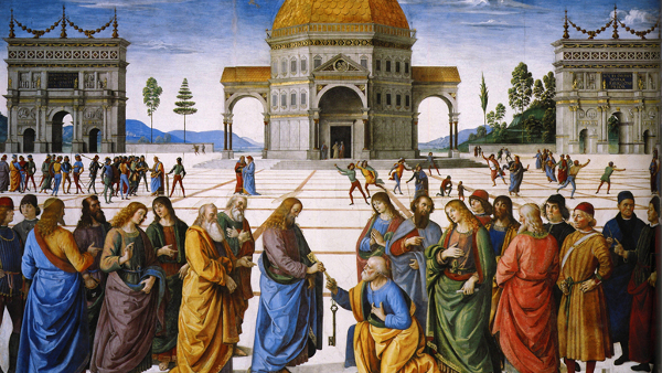 Christ Handing the Keys to St. Peter  (Painted by Pietro Perugino) (1481)