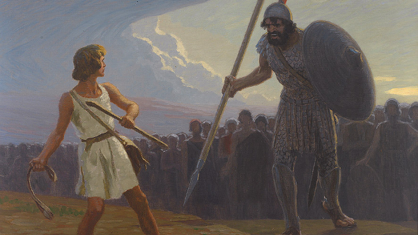 David and Goliath  (Painted by Gebhard Fugel) (circa 19th20th century)