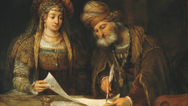 Esther and Mordecai Writing Letters To The Jews  (Painted by Arent de Gelder) (1675)