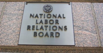 National Labor Relations Board sign in Washington D.C.  (Photo by Geraldshields11) (CC BY) (Resized/Cropped)
