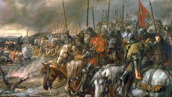 Morning of the Battle of Agincourt (Painted by Sir John Gilbert) (1884) {US-PD}