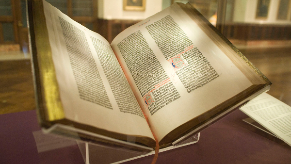 The Gutenberg Bible (Photo by Kevin Eng) (CC BY) (Resized/Cropped)