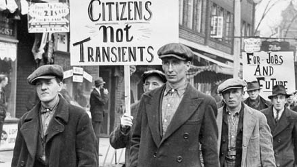 The Single Men's Unemployed Association parading in Toronto, Canada (circa 1930)