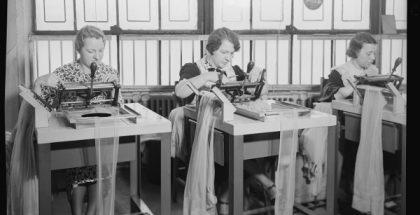 women working making hosiery 1936 1930s public domain