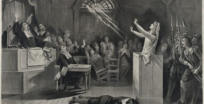 Fanciful representation of the Salem witch trials, lithograph from 1892 (Drawn by Joseph E. Baker)