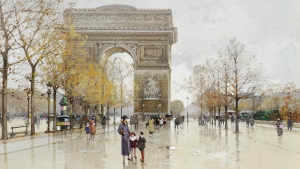 L'Arc de Triomphe, Paris (Painted by Eugène Galien-Laloue) (by 1941)