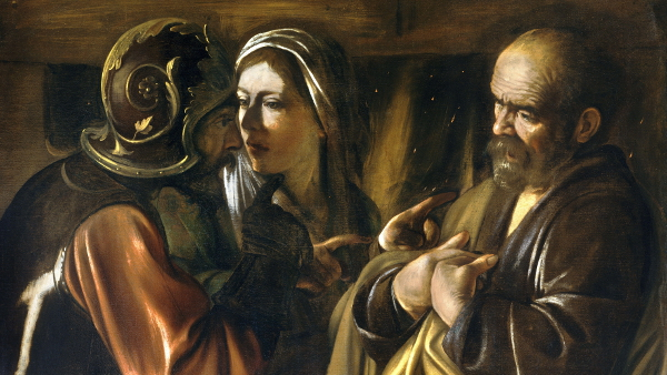 The Denial of Saint Peter (Painted by Caravaggio) (circa 1610) {US-PD}