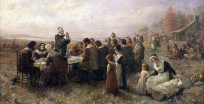 The First Thanksgiving at Plymouth (Painted by Jennie Augusta Brownscombe) (1914) {{PD-1923}}
