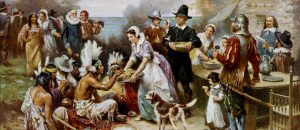 The First Thanksgiving (Painted by Jean Leon Gerome Ferris) (circa 1912-1915) {{PD-1923}}