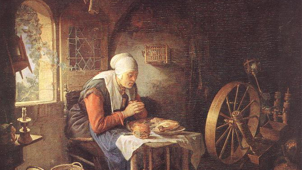 The Prayer of the Spinner (Painted by Gerrit Dou) (17th Century) {US-PD}
