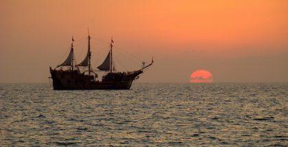 sailing boat sea sunset PUBLIC DOMAIN