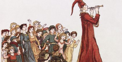 The Pied Piper, an illustration from The Pied Piper of Hamelin (1888) PUBLIC DOMAIN
