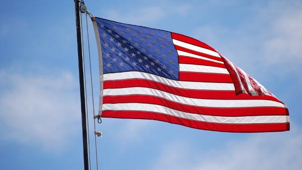 US flag waving PUBLIC DOMAIN