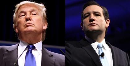 Donald John Trump and Rafael Edward 'Ted' Cruz (Photos by Gage Skidmore) (CC BY-SA) (Resized/Cropped)