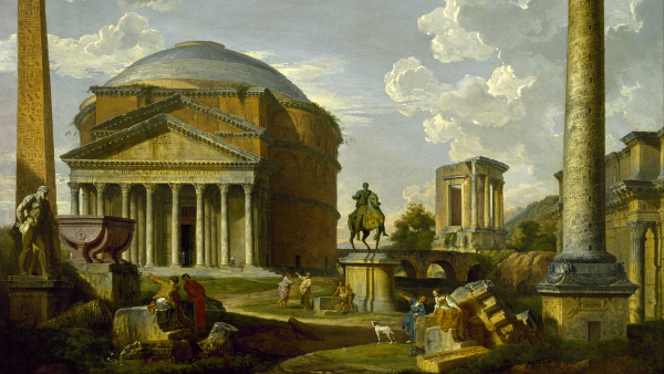 Fantasy View with the Pantheon and other Monuments of Ancient Rome (Painted by Giovanni Pauolo Panini) (1737)