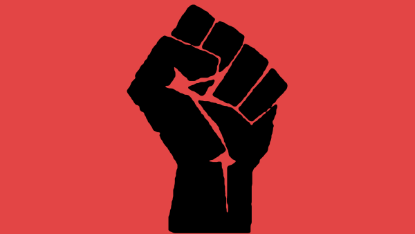 The raised fist, sometimes associated with Socialism and resistance.