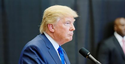 Donald John Trump, presumptive Republican nominee  for United States President (Photo by Michael Vadon) (CC BY-SA) (Resized/Cropped)
