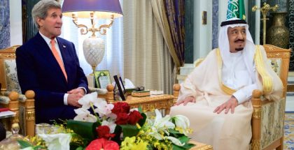 U.S. Secretary of State John Kerry with King Salman bin Abdelaziz Al Saud of Saudi Arabia