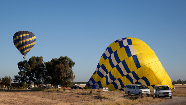 deflated hot air balloon (Photo by Robert Couse-Baker) (CC BY) (Resized/Cropped)