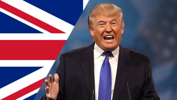 The Union Jack and Donald Trump, Republican nominee for President (Photo by Gage Skidmore) (CC BY-SA) (Resized/Cropped)