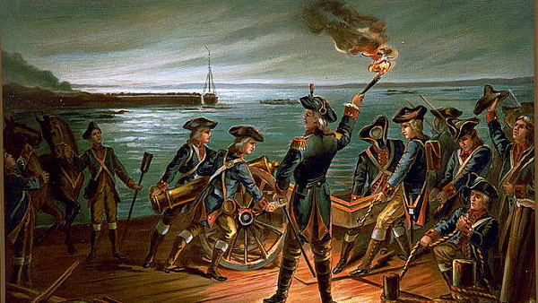 Painting of the American retreat from Long Island after the battle of Brooklyn