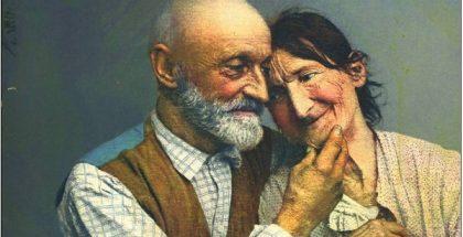 old postcard aging elderly people PUBLIC DOMAIN