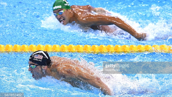 Michael Phelps and Chad le Clos (Photo by David Ramos/gettyimages) (Resized Cropped)