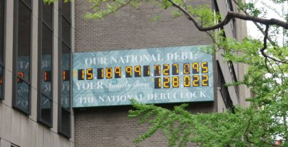 United States national debt counter in NY, April 2012 (Photo by Valugi) (CC BY-SA) (Resized/Cropped)