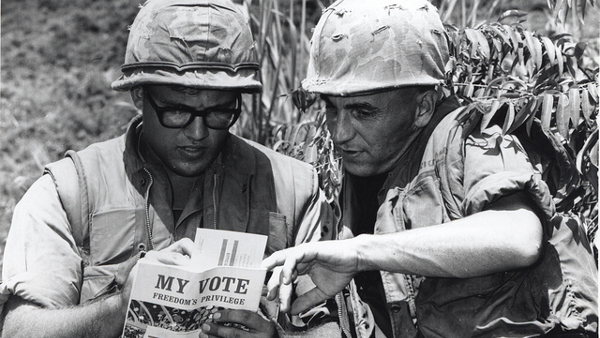 Voting Absentee, Vietnam, 1968 (Photo by USMC Archives) (CC BY) (Resized/Cropped)