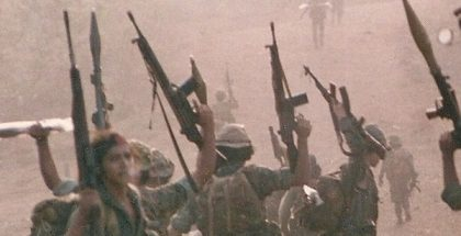 ARDE Frente Sur Commandos, El Serrano Nicaragua 1987  (Photo by Tiomono) (CC BY-SA) (Resized Cropped)