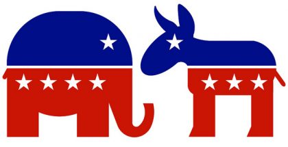 Republican Elephant & Democratic Donkey  (Photo by DonkeyHotey) (CC BY) (Resized/Cropped)