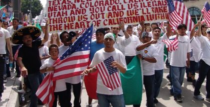Immigrant rights march for amnesty in downtown Los Angeles, California on May Day, 2006.