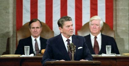 "2/18/1981 President Reagan George Bush Thomas ""Tip"" O'Neill Addressing Joint Session of Congress on Program for economic recovery in House Chamber United States Capitol"