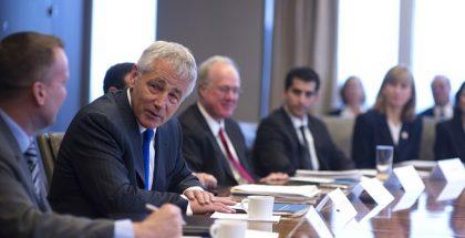 Then-Secretary of Defense Chuck Hagel meets with corporate and non-profit veterans organization's leadership