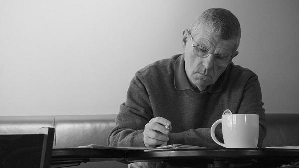 Coffee Senior Male Shop Man Writing Serious