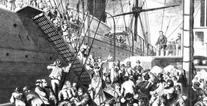 German emigrants boarding a steamer in Hamburg and arriving in New York.